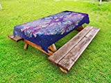 Ambesonne Ethnic Outdoor Tablecloth, Spirituality Symbol Yoga and Meditation Cosmos Theme Psychedelic Composition, Decorative Washable Picnic Table Cloth, 58 X 120 inches, Purple Baby Pink