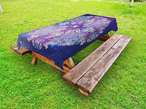 Ambesonne Ethnic Outdoor Tablecloth, Spirituality Symbol Yoga and Meditation Cosmos Theme Psychedelic Composition, Decorative Washable Picnic Table Cloth, 58 X 120 inches, Purple Baby Pink by Ambesonne