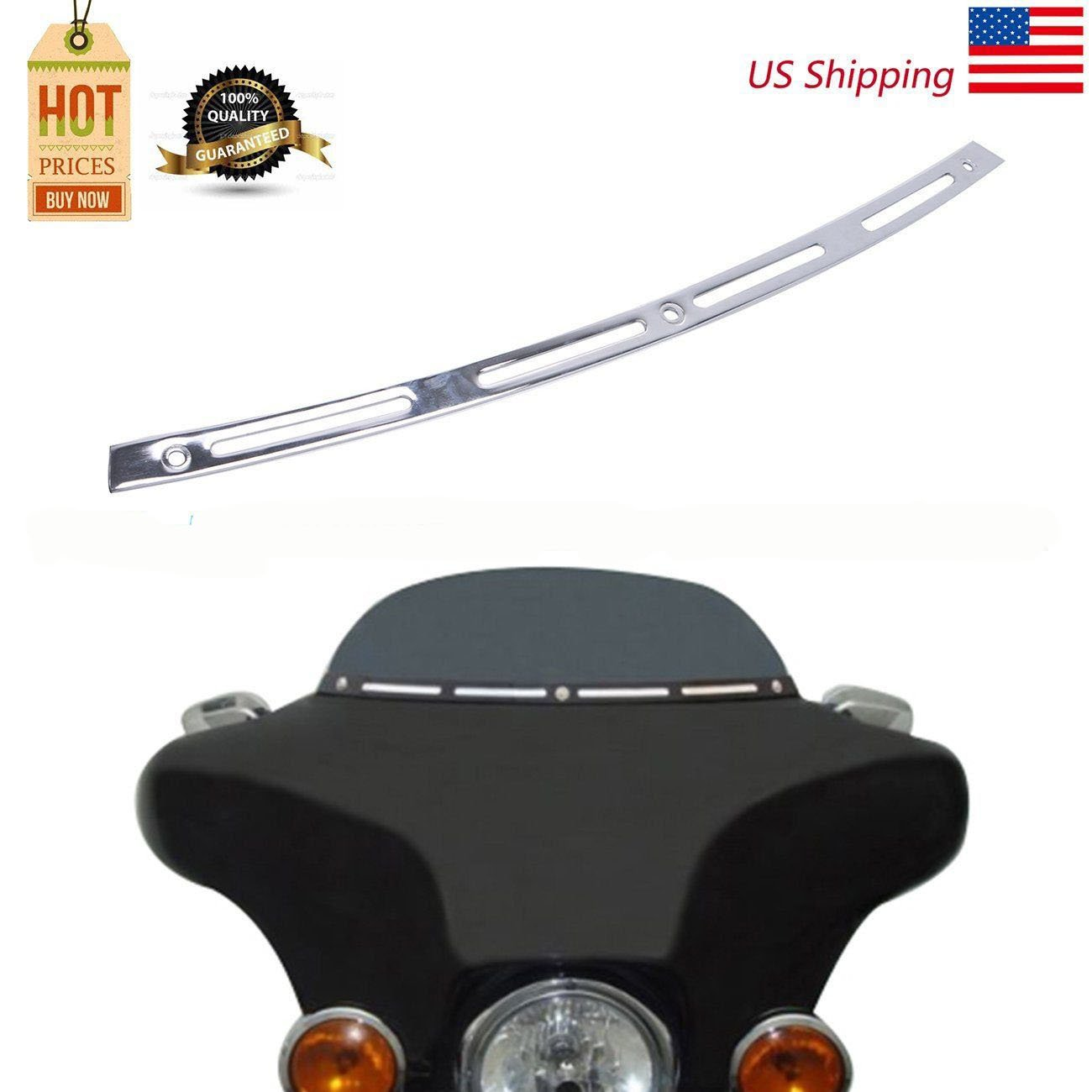 Chrome Metal Slotted Windshield Trim For 1996-2013 Harley Davidson TOURING BAGGER BATWING BOXWELOVE