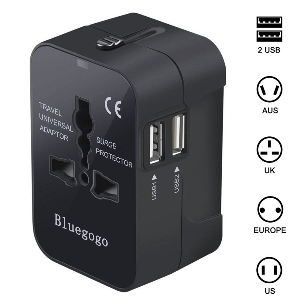 Bluegogo Travel Adapter,Universal All in One Worldwide Travel Adapter Wall Charger AC Power Plug Adapter Power Plug Wall Charger with Dual USB Charging Ports for USA EU UK AU – USB Cable(Black)
