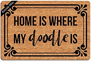 Ruiyida Entrance Mat Home is Where My Doodle is Funny Doormat Door Mat Decorative Indoor Doormat Non-Woven 23.6 by 15.7 Inch Machine Washable Fabric Top
