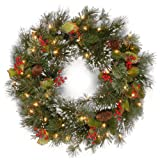 National Tree 24in Pine Christmas Wreath with White LED Lights (Small Image)