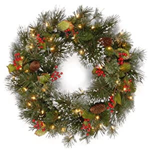National Tree Company Pre-lit Artificial Christmas Wreath| Flocked with Mixed Decorations and Pre-strung White LED…