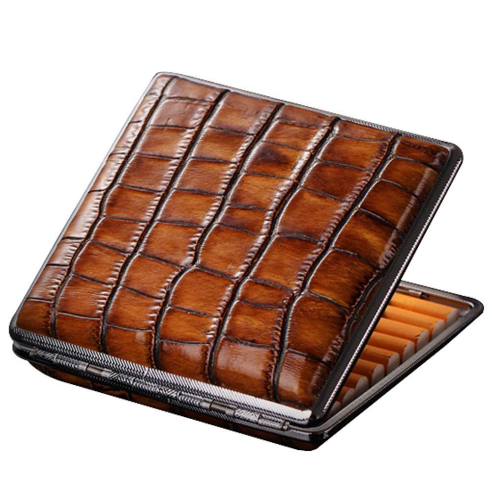 QIAOQ Men's Cigarette Case Leather Crocodile Grain Ultra-Thin Portable Metal Cigarette Boxes 20 Ordinary Cigarettes,Yellowbrown,20sticks