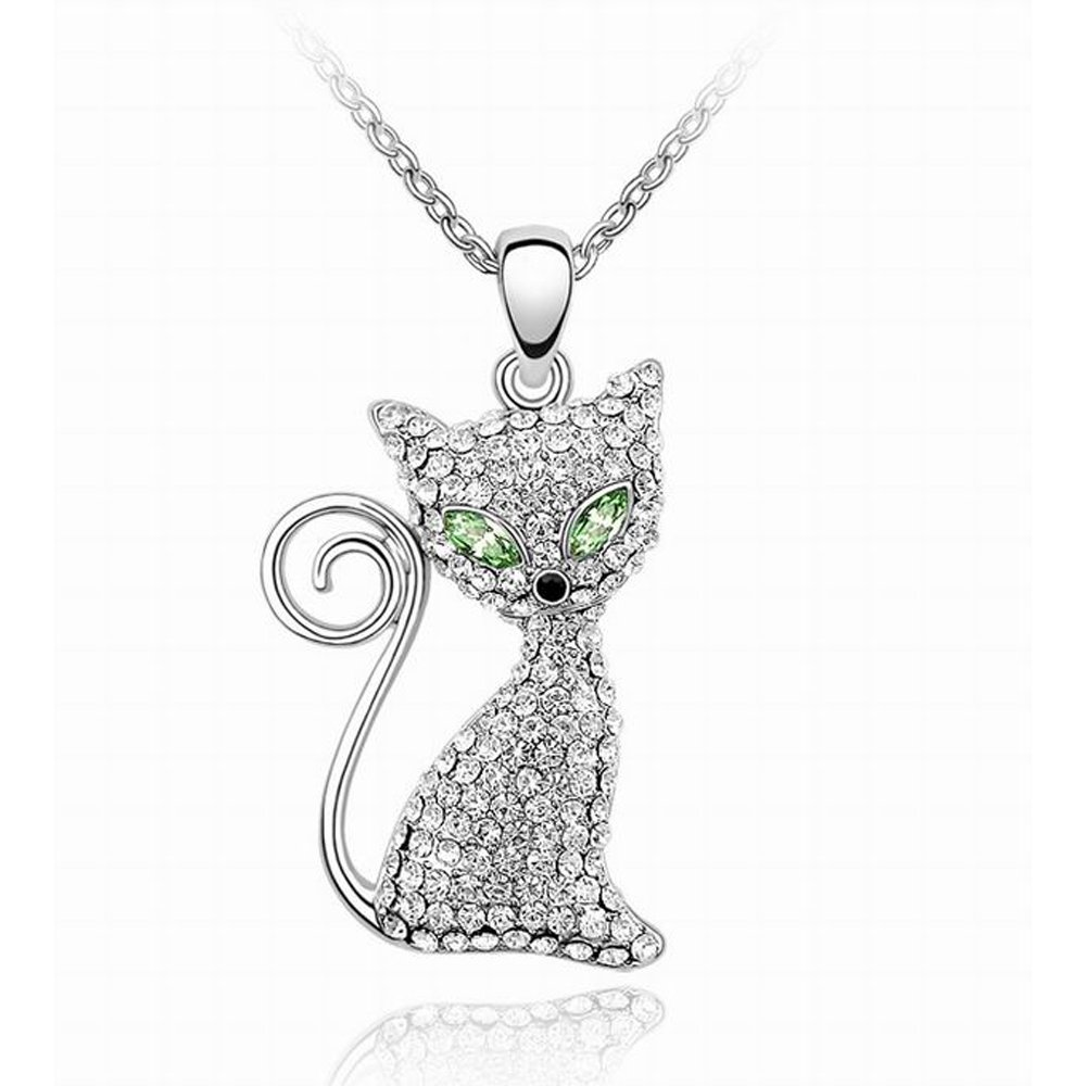 BONFASH Womens Girls Necklace Sterling Silver Cat Pendant Necklace for Girls Women Made with Swarovski Element Crystal