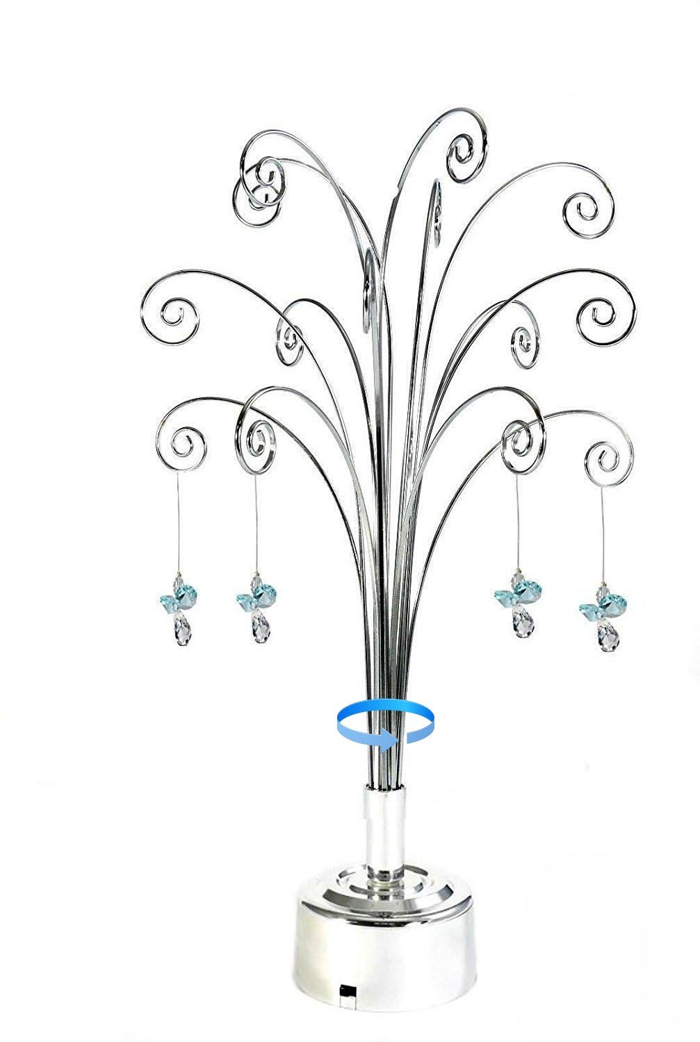 HOHIYA Hanging Crystal Suncatchers Ball Garden Guardian Angel Butterfly Prisms Pendant Drop Rainbow Maker Feng Shui Party Home Decoraions Rotating Display Hanger Hook Stand 16.75inch(Silver)