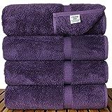 Chakir Turkish Linens Turkish Cotton Luxury Hotel & Spa Bath Towel, Bath Towel - Set of 4, Plum