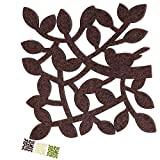 Dulce Cocina Coasters For Drinks Absorbent Large Set of 6, Twigs Design In Chocolate Color, Protect Furniture With Style