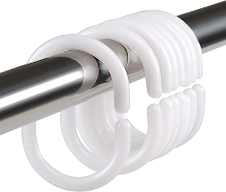 LIHAO 24 Anelli per Tenda da Doccia in Plastica Accessorio Ganci Singoli da Doccia Guardaroba 46 x 29 mm Bianco