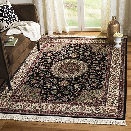 (Safavieh Royal Kerman Collection RK82C Hand-Knotted Black and Ivory Wool Area Rug (6' x 9'))