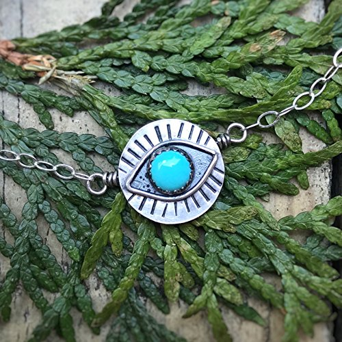 Turquoise Evil Eye Sterling Silver Short Necklace ()