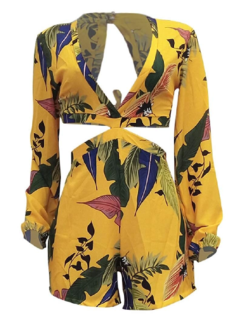 YIhujiuben Women Long Sleeve Deep V Neck Backless Floral Print Bodycon Short Jumpsuit