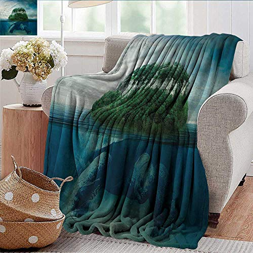 Xaviera Doherty Soft Blanket King Size Underwater,Turtle Carrying Island Throw Blanket for Ultimate Comfort - Tortilla Turtle Island