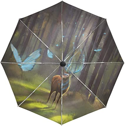 outside Printing With Flowers Anti Uv Compact 3 Fold Art Lightweight Foldable Umbrellas Windproof Rain Sun Protection Umbrellas For Women Girls Kids Travel Umbrella Forest Animal Deer fawn