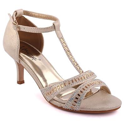 3476a2243 Unze Women  Shelton  Diamante Embellished Peep-Toe Mid High Stiletto Heel  Evening Party Carnival Get Together Brunch Wedding Heel Sandals Court Shoes  Size ...
