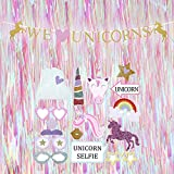 P+Co Birthday Party 18 PCS Unicorn Themed Set: PHOTO BOOTH PROPS + BANNER + Iridescent BACKDROP - We Love Unicorn Party Decorations Celebrations
