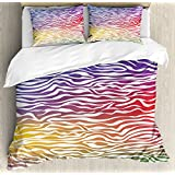 Zebra Print Queen Size Duvet Cover Set by Ambesonne, Abstract Zebra Skin Pattern Geometric Horizontal Lines Stripes Illustration, Decorative 3 Piece Bedding Set with 2 Pillow Shams, Purple Red Yellow