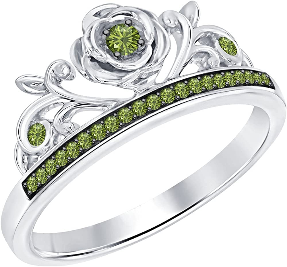 SVC-JEWELS Round Cut Green Tourmaline 14K White Gold Plated Rose Tiara Princess Ring
