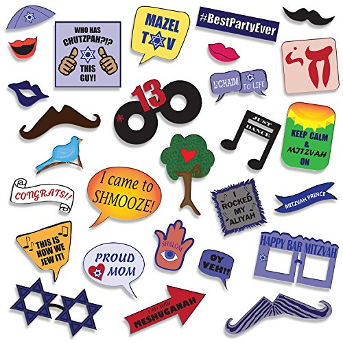 Bar Mitzvah Photo Booth Props - DIY Kit: Banners, Signs, Glasses, Mustaches, Jewish Phrases, Etc - Boy, Scrapbook or Party Favors Idea - Decorations Supplies - 26 pcs for Multiple (Scrapbook Storage Ideas)