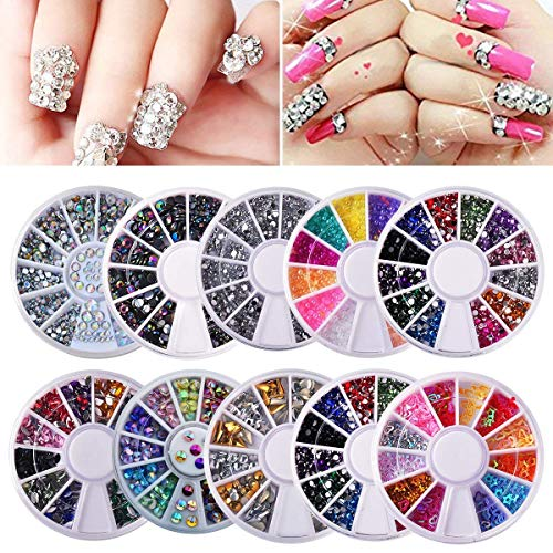 (Biutee 10 Wheels nail art decor accessories Nail Rhinestones Premium Manicure Nail Art Decorations Nail Tools)