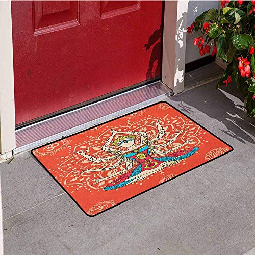 GloriaJohnson Yoga Commercial Grade Entrance mat Yoga Technique with Ethnic Costume Zen Discipline Your Body and Mind Artprint for entrances garages patios W23.6 x L35.4 Inch Cream Red Teal]()