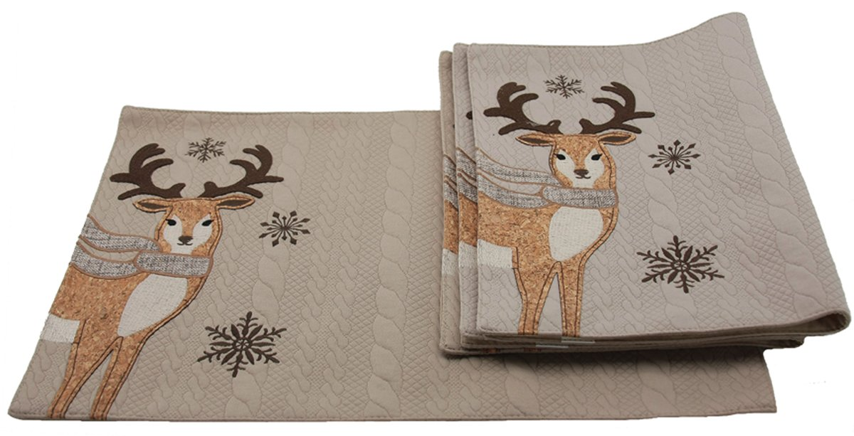 Manor Luxe CozyトナカイクリスマスPlacemats ( 4 )のセット、13 x 18
