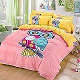 Sandyshow 2PC Owl Bedding For Children Twin Duvet Cover Set 100% Cotton, Full/Queen/King Size Optional