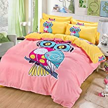 Sandyshow 3PC Owl Bedding For Boys And Girls Full/Queen Duvet Cover Set 100% Cotton,Twin/King Size Optional