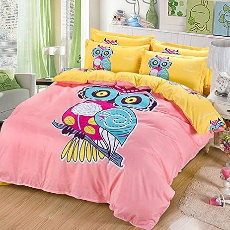 Sandyshow 3PC Owl Bedding For Boys And Girls Full/Queen Microfiber Duvet  Cover Set