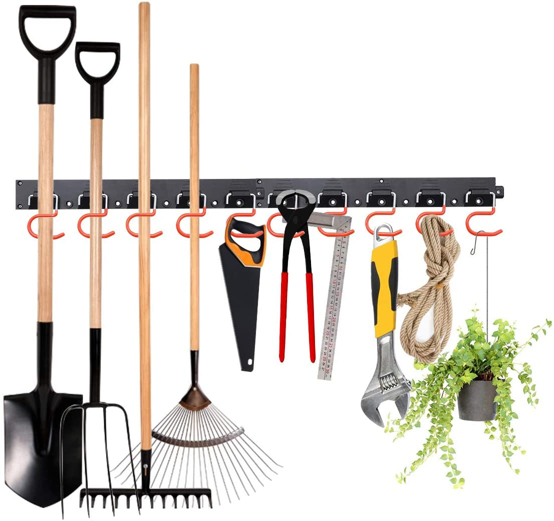 MOHOO 64 Inch Adjustable Storage System, Wall Holders for Tools, Wall Mount Tool Organizer, Garage Organizer, Garden Tool Organizer, Heavy Duty Tools Hanger with 4 Rails 16 Hooks