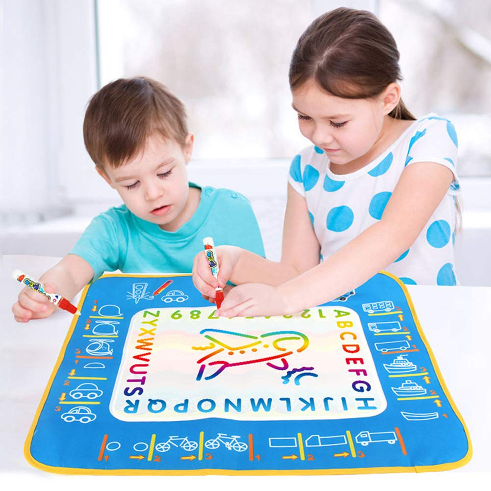 Everrikle Creative Reusable Magic Water Doodle Drawing Graffiti Mat Educational Kids Toy,Classic Toy, Developmental Toy, Easy-to-Grip Shapes, Learning Toys for Toddlers