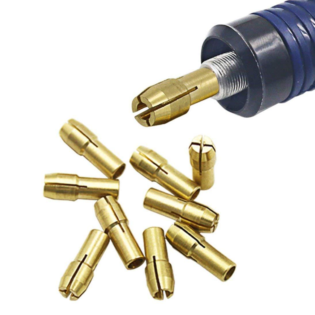 WEIHAN 10PCS Pinzas de perforaci/ón 0.5-3.2mm Amoladora el/éctrica Taladro Carpeta Collet de cobre Cobre Chuck Cap Collet Eje Taladro Collet Kit de herramientas Color de cobre