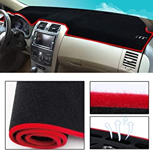 Dashboard Cover Dash Cover Mat Pad Custom Fit for Toyota Yaris 2007 Model Set Red Line