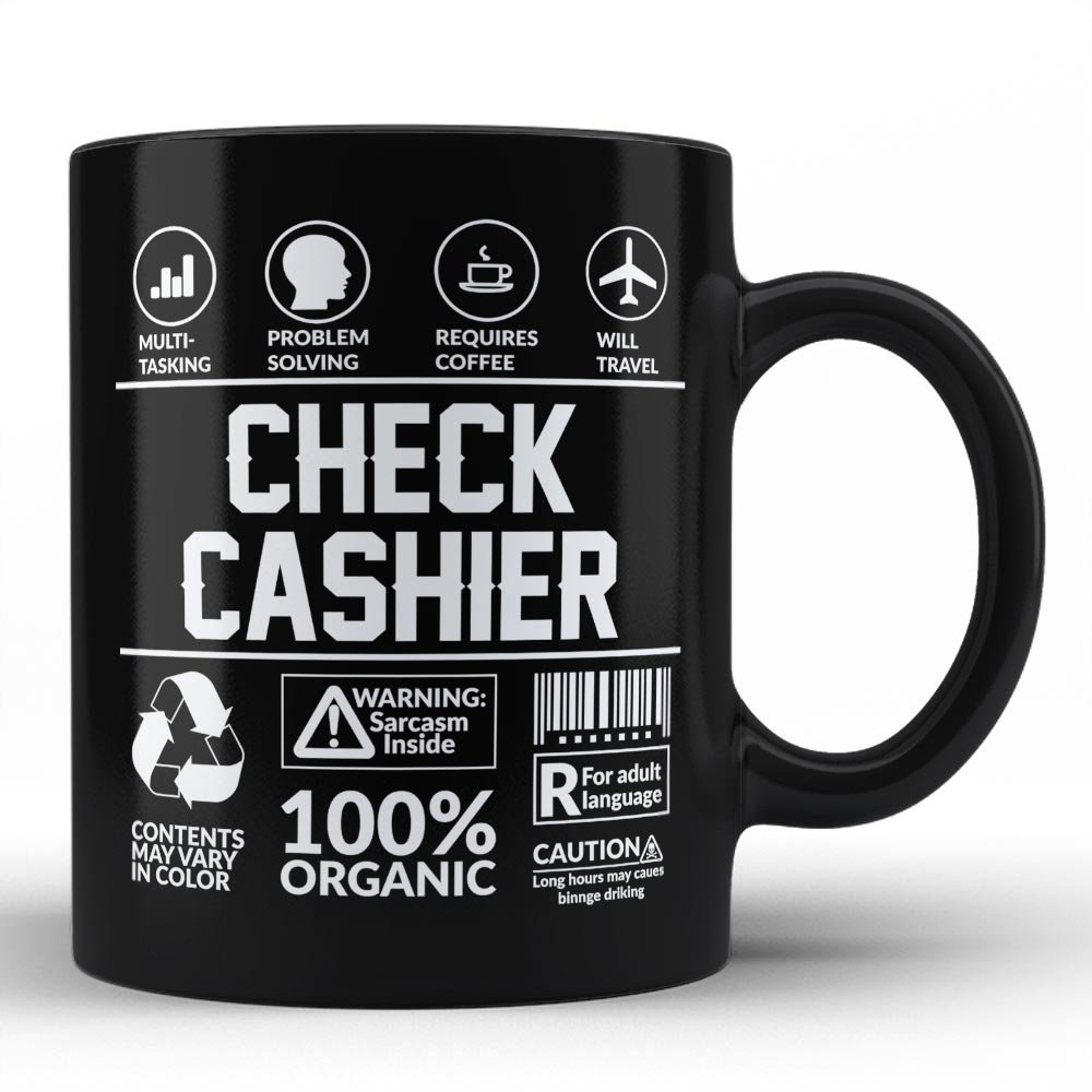 Funny Sarcasm Mug/ Gift for Check Cashier Humor Black Coffee Mug By HOM Check Cashier Friends Birthday Coworker Colleague Unique Perfect GIft
