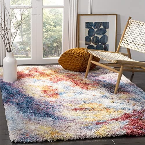 Safavieh Gypsy Shag Collection GYP520A Rust and Ivory Area Rug 9 x 12