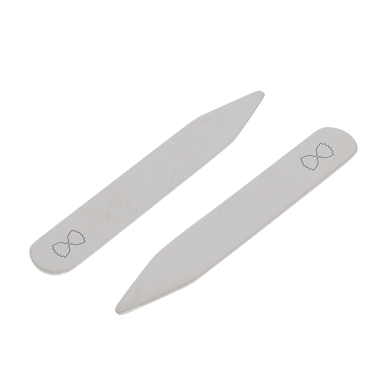 2.5 Inch Metal Collar Stiffeners MODERN GOODS SHOP Stainless Steel Collar Stays With Laser Engraved Macaroni Design Made In USA