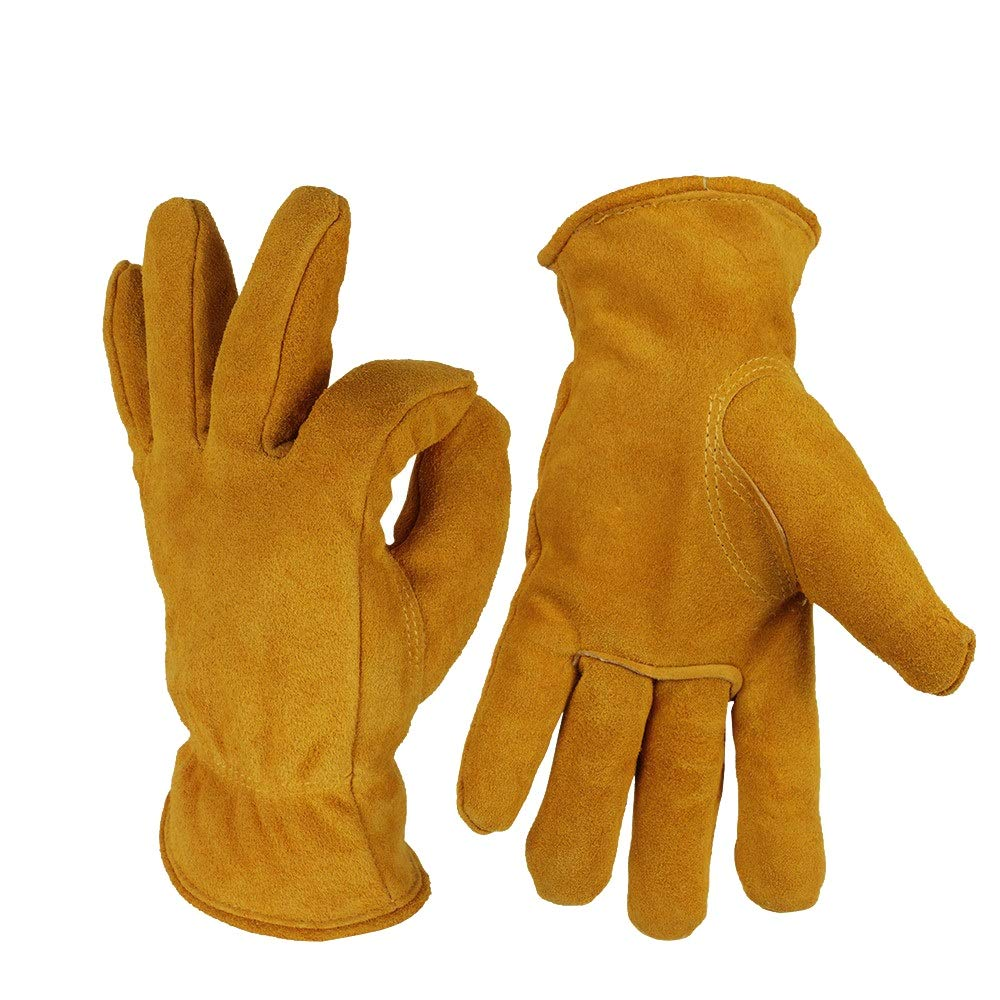 Crystalzhong Gardening Works Pruning Gloves Winter Cold Warm Wear-Resistant Gloves Garden Work Gloves Unisex Thorn and Cut Proof Gloves (Color : Yellow, Size : XL)