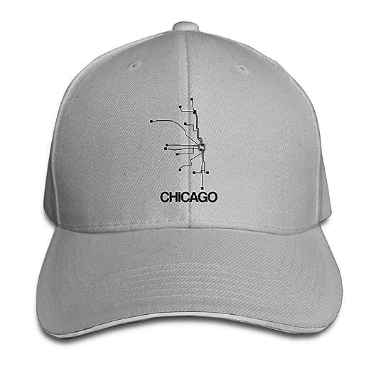 PB-ZINAN Adult Vintage Subway Map Chicago Snapback Hat Baseball Cap Black  Sandwich Peaked Cap 713112ae6d8