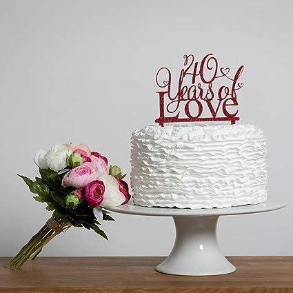 Decoración para tarta de 40 años de amor, decoración para 40 ...