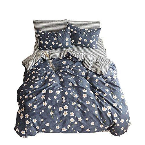 Daisy Duvet Set - VM VOUGEMARKET Premium Cotton Duvet Cover Set Queen,Daisy Printed Bedding Set,Reversible 3 Pieces Stripes Duvet Cover with Zipper Closure-Full/Queen,Daisy