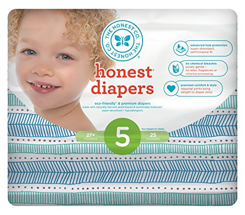 Honest Baby Diapers, Teal Tribal, Size 5, 100 Count