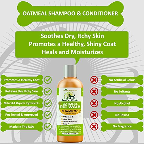 Pro Pet Works Natural Oatmeal Dog Shampoo + Conditioner for Dogs and Cats-Hypoallergenic and Soap Free with Natural Oils and Aloe for Allergies & Sensitive Skin-Organic Blend 17oz by Pro Pet Works (Image #3)