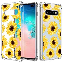 JOYLAND Sunflower Case for Galaxy S10 Flower Phone Case Girl Women Crystal Clear Floral Case Flexible Reinforced Corner Bumper Transparent Cover Anti-Scratch Full Cover Shell for Samsung Galaxy S10