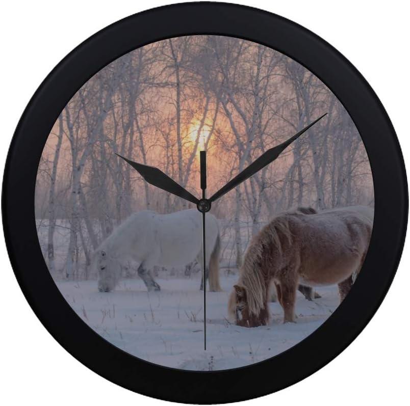 WYYWCY Simple Moderno Los Caballos de la Raza Yakut Reloj de Pared Movimiento de Barrido Interior Pared Clcok para Oficina, baño, Sala de Estar Decorativo 9.65 Pulgadas