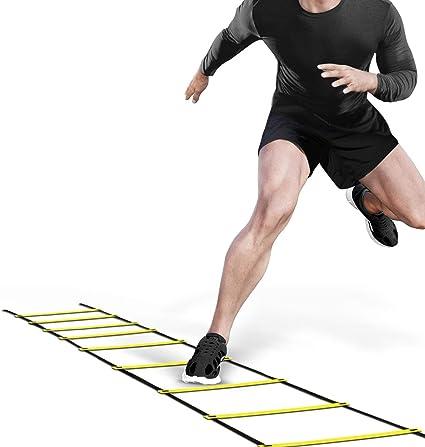 Lzour Escalera de Agilidad, 4-6M 8/12 Escalera de Velocidad de escalón de Agilidad para Entrenamiento de Velocidad de fútbol con Estuche Negro: Amazon.es: Deportes y aire libre