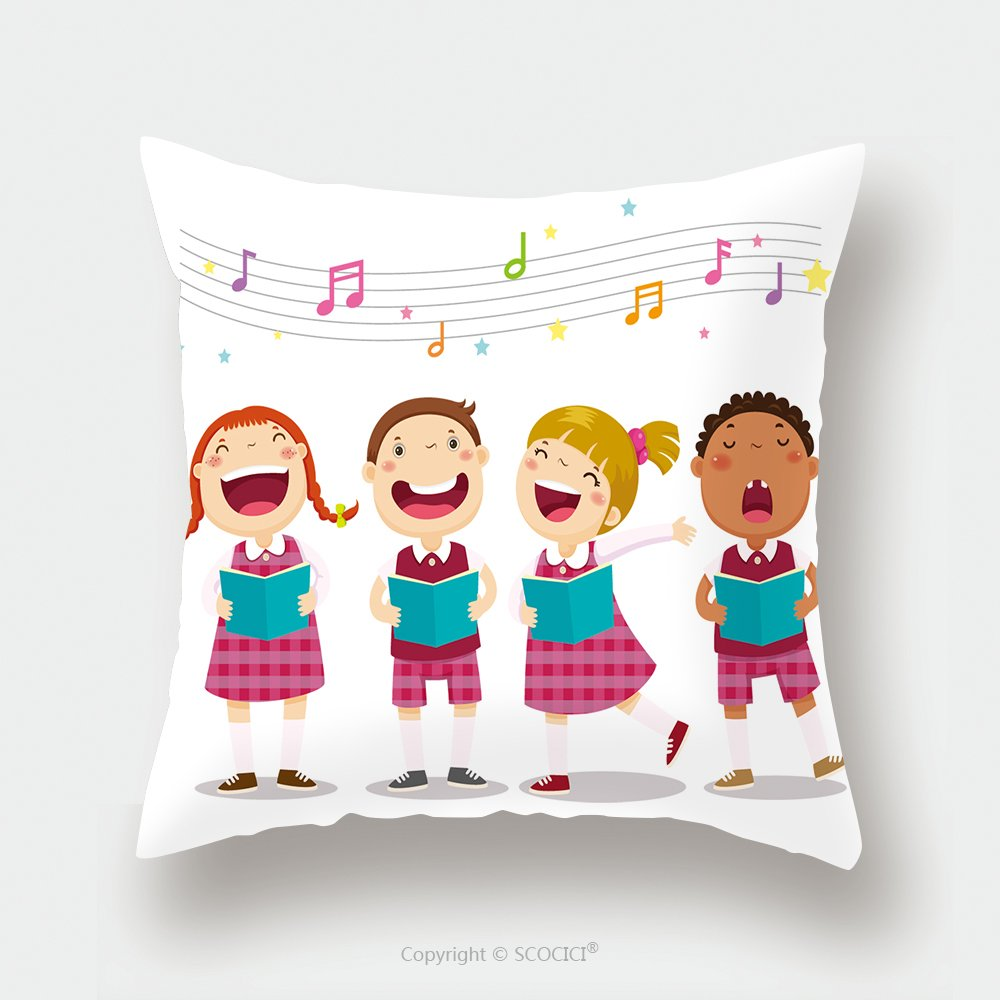 Custom Satin Pillowcase Protector Vector Illustration Of Choir Girls And Boys Singing A Song 387532660 Pillow Case Covers Decorative by chaoran