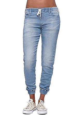 b3791185cc60 Ybenlover Damen High Waist Jeans Straight Slim Denim Stretch Lang Jeanshosen  Mit Gummizug  Amazon.de  Bekleidung