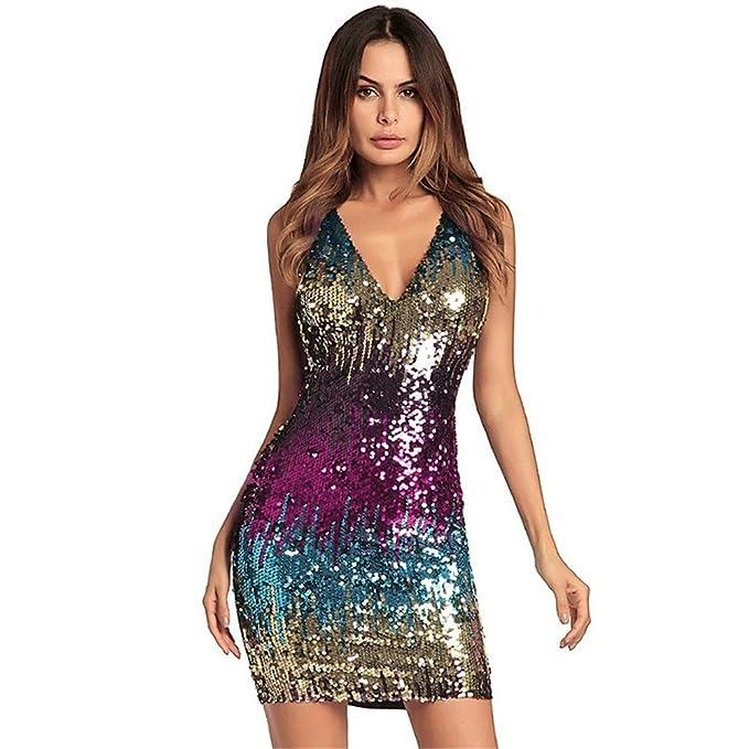 vestido de noche Las mujeres Vestido con cuello en V profundo Sequin Dress Bodycon Club Fiesta