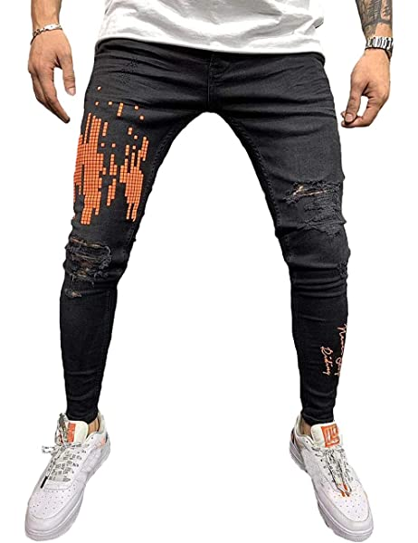 Nanquan Men Plus Size Casual Pocket High Waisted Denim Pants Slim Jeans Trousers