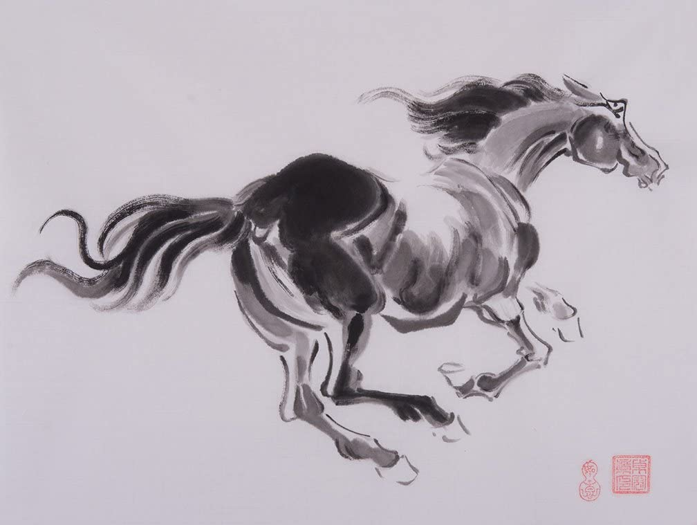 jiangnanruyi arte caballo pintado a mano arte chino Cepillo de tinta y lavado acuarela dibujo imagen sobre papel de arroz decoración de caballo decoración para oficina para salón o dormitorio